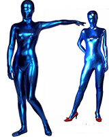 Blue Shiny Metallic Zenshin Tights Suit
