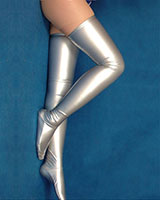 Wet Look Stockings - Silver