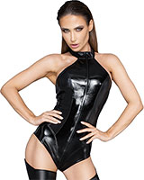 Glossy Synthetic Leather and Powerwetlook Body with 3-Way Zipper