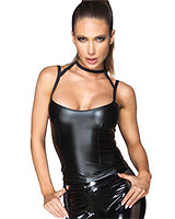 Enges Top aus mattem Wetlook mit Halsband - bis 6XL