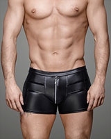 Wet Look Shorts with Zipper - Size 7XL