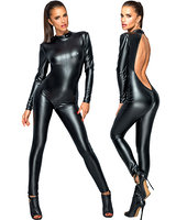 Black Powerwetlook Catsuit with Large Back Cutout