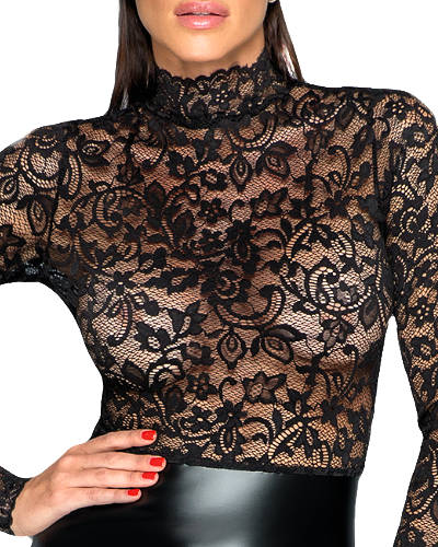 Powerwetlook and Lace Pencil Dress