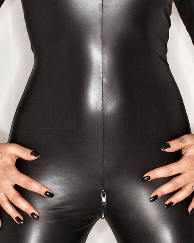 Wet Look Catsuit with 2 Way Zipper - up to Size 6XL