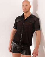 Mesh Short Sleeved Shirt with Wet Look Details - Size 8XL