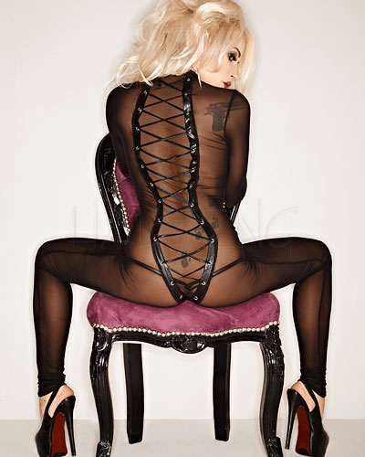 Mesh Catsuit with Wet Look Details - Size 6XL