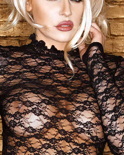Wet Look and Lace Mini Dress - Size L