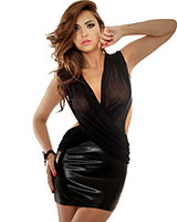 Wetlook and Mesh Dress - up to Size 6XL