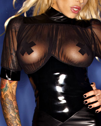 Matte Wetlook and Mesh Dress - up to Size 3XL