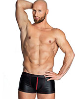 Matte Wetlook Shorts with Red Zip - up to Size 6XL