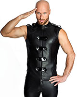 Military Style Matte Wetlook Waistcoat - up to Size 3XL