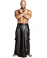 Men's Long Leatherette and Mesh Skirt - up to Size 6XL