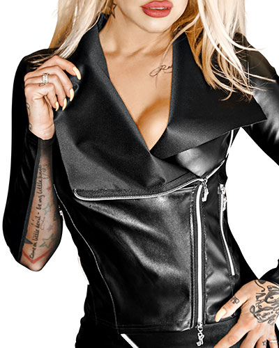Ecoleather and Mesh Jacket with Front Zipper
