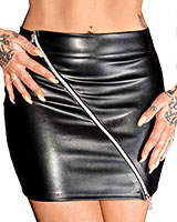 Leatherette Mini Skirt with Diagonal 2 Way Zipper