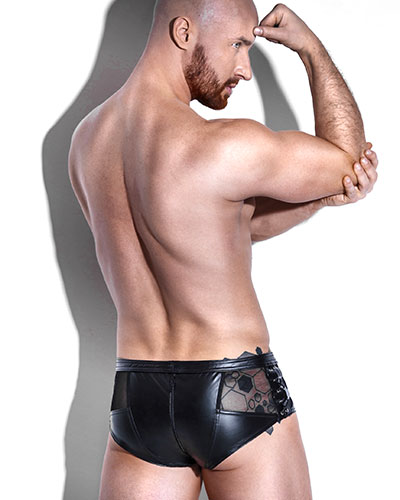 Powerwetlook Shorts with Mesh Panels and 3-Way Zipper
