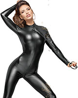 Powerwetlook Catsuit with Leash