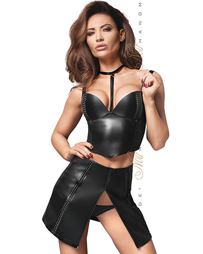 Leatherette Mini Skirt with Front and Back Zipper
