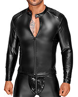 Powerwetlook Jacket with Zipper and PVC Panels