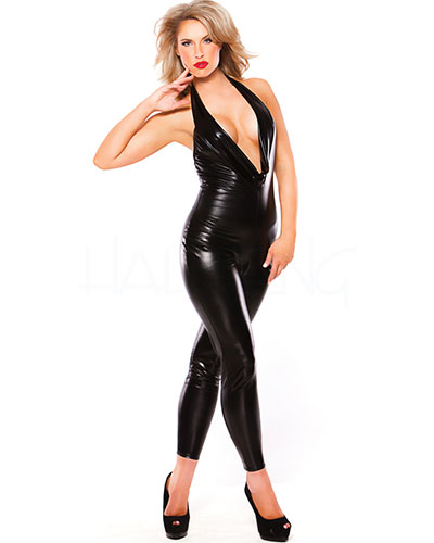 Ärmelloser Kitten Catsuit im Wetlook