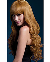 Auburn Long Wig with Fringe and Soft Curls