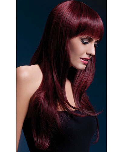 Black Cherry Long Wig with Fringe