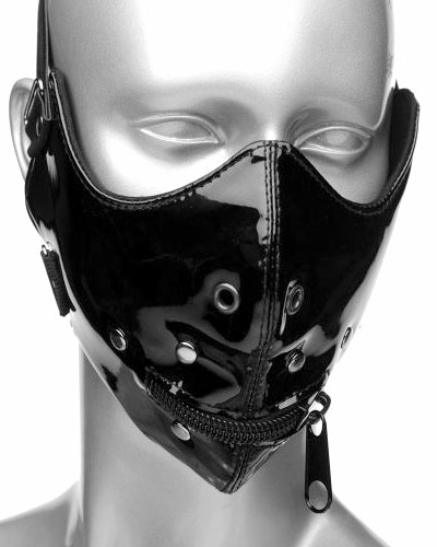 Gloss PVC Muzzle with Mouth Zipper