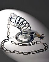 Chastity Cage with Chain - Stainless Steel - 2 Sizes